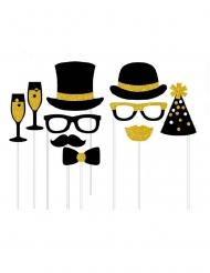 Kit photobooth 10 accessori festa chic oro e nero