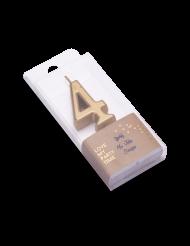 Candelina color oro metellizzato numero 4