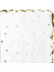 16 tovaglioli di carta pois e festone oro