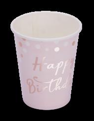 8 bicchieri in cartone Happy Birthday oro e oro rosa