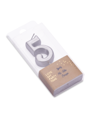 Candela di compleanno color argento metallizzato numero 5
