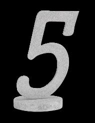 Centrotavola in legno color argento numero 5