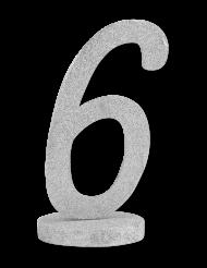 Centrotavola in legno color argento numero 6