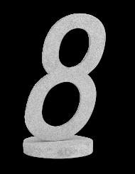 Centrotavola in legno color argento numero 8