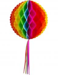 Sfera in carta alveolata arcobaleno con nastrini