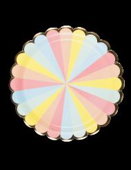 8 piatti in cartone pastello bordo dorato 23 cm