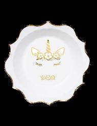 8 piatti in cartone unicorno oro e bianco 23 cm