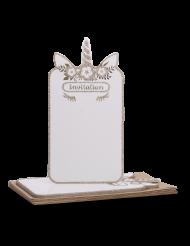 8 inviti unicorno bianco e oro con buste