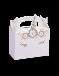 8 scatole in cartone unicorno bianco e oro