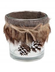 Portacandele di vetro con pelliccia e pigne