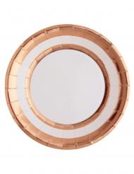 10 piatti in cartone bianco e rame metallizzato 23 cm