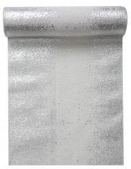 Runner da tavola in cotone bianco scintille argento