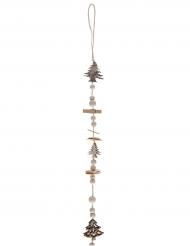 Sospensione in legno con perle mollette e alberelli