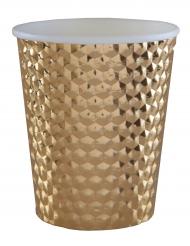 10 bicchieri in cartone martellato color oro