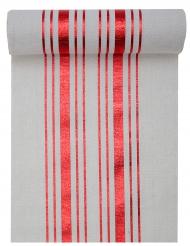 Runner da tavola in cotone bianco righe rosse