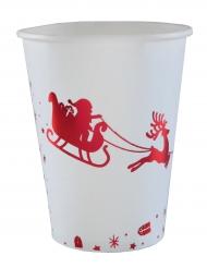 10 bicchieri in cartone slitta di Babbo Natale bianco e rosso