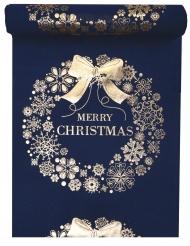 Runner da tavola Merry Christmas blu e oro