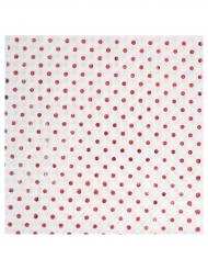 20 tovagliolini di carta bianchi con pois rossi metallizzati