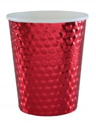 10 bicchieri in cartone martellato color rosso
