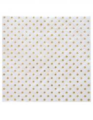 20 tovagliolini di carta bianchi con pois oro metallizzati
