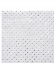 20 tovagliolini di carta bianchi con pois argento metallizzati