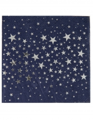 20 tovagliolini di carta blu con stelle argento