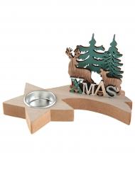 Portacandele in legno e metallo con cervo