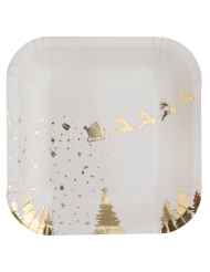 10 piattini in cartone slitta di Babbo Natale bianco e oro 18 cm