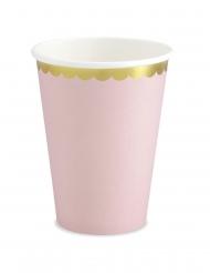 6 bicchieri in cartone rosa bordo oro