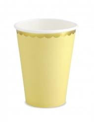 6 bicchieri in cartone gialli bordo oro