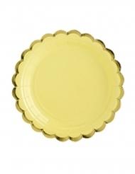 6 piattini in cartone gialli bordo oro 18 cm