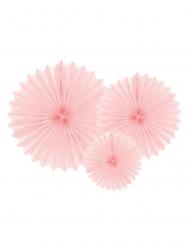 3 rosoni di carta rosa chiaro