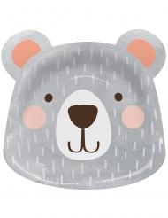 8 piatti in cartone a forma di piccolo orso