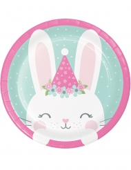 8 piattini in cartone coniglio 18 cm