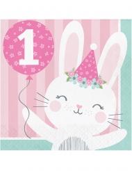 16 tovaglioli di carta 1° compleanno coniglio