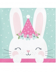 16 mini tovaglioli di carta coniglio