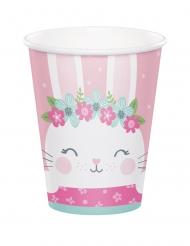 8 bicchieri in cartone coniglio rosa