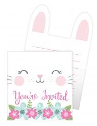 8 inviti per festa coniglio bianco