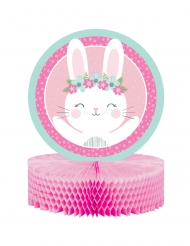 Centrotavola di carta alveolata rosa con coniglio
