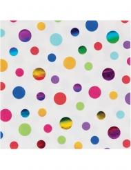 16 tovaglioli di carta pois arcobaleno