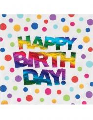 16 tovaglioli di carta pois arcobaleno Happy Birthday