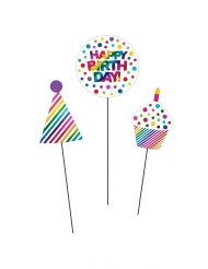 3 stecchini decorativi Happy Birthday arcobaleno
