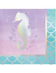 16 tovagliolini di carta sirena iridescente