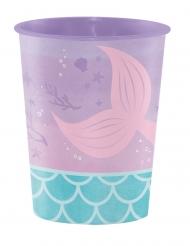 Bicchiere in plastica rigida sirena iridescente