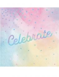 16 tovaglioli di carta multicolor celebrate iridescente