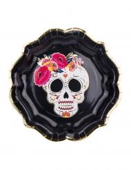 8 piatti in cartone neri e oro teschi messicani 23 cm