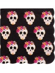16 tovaglioli di carta neri teschi colorati