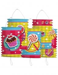5 lampioni di carta colorati dolcetti