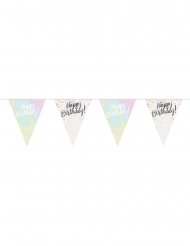 Ghirlanda bandierine in plastica Happy Birthday pastello