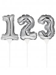 Decorazione per torta gonfiabile numero argento